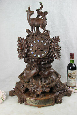 Huge BLACK FOREST wood carved 1885 Clock deer hunt birds marked