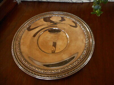 """Reed & Barton Silver Plate Tray Vintage Farmhouse Country Decor 10.5"""" Rustic"""