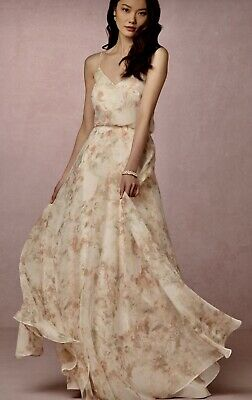 6016c2bcfc New BHLDN Jenny Yoo Sz 2 INESSE Peach Green Ivory Chiffon Prom Mother of  Bride