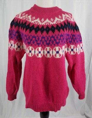 Vtg Eastern Mountain Sport Women Pink Wool Blend Fair Isle Sweater Size Large