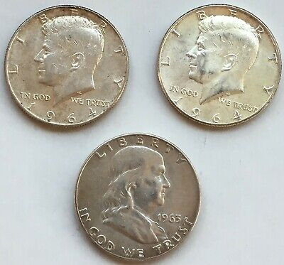 LOT of 3 UNITED STATES 1963 1964 KENNEDY 90% 900 SILVER HALF DOLLAR ESTATE COINS