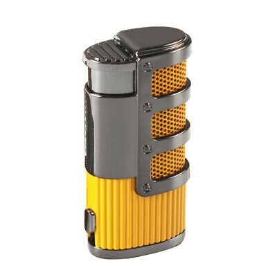 COHIBA Yellow Gridding Stripes Triple Jet Torch Cigar Cigarette Lighter W/Punch