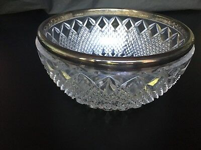 FB Rogers Silver Co Clear Cut Crystal Bowl with Silver Plate Rim Vintage