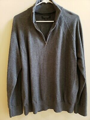 Banana Republic XL Men's Cashmere & Cotton sweater Grey with zip & high collar
