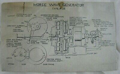 1920s General X-Ray Co. Morse Wave Generator Type A-25  Diagram Card