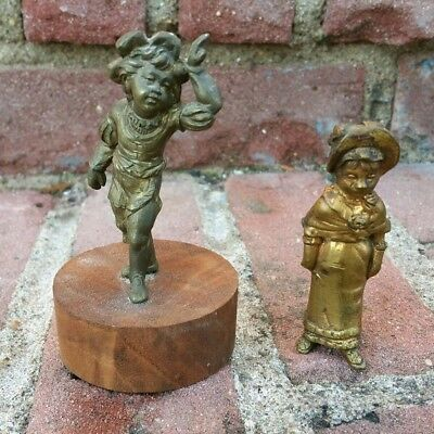 2x Antique Victorian 19th C Gilt Gilded Metal Clock Finial Figures Brass ~NICE~