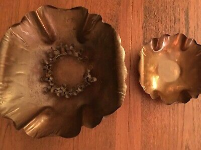 """Arts and Crafts Drumgold Copper Bowls 12"""" and 6.75"""" plus 5.5"""" Flower Holder"""