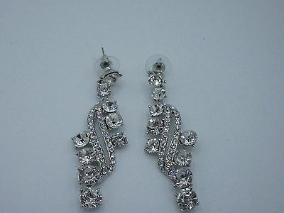 05af686e2d4 Statement Cluster Dangle Earrings Rhinestone Crystal Statement Long Silver  Tone