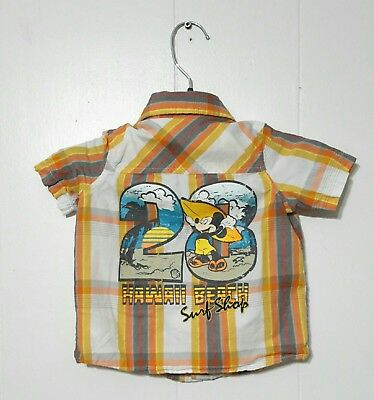 e30e43f8 Disney Baby Mickey Mouse Hawaii Beach Surf Cotton Shirt Camp style Size 9  Month