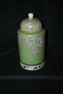 Beautiful Victorian Large Decorated Covered Glass Jar 1880's -1900