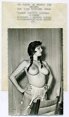 Original Rare.Topless Brunette with Attitude.Nude Model.Risque Pinup.Old Photo.