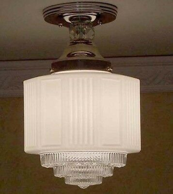 956 Vintage Antique 30s 40s aRT Deco Ceiling Light Lamp Fixture bath  kitchen