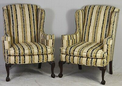 Pair of Mahogany Chippendale Claw & Ball Wing Chairs Damask Williamsburg Look