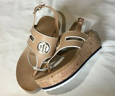 31e54043143 New Tommy Hilfiger Sandals Shoes Natural Gelia Cork Wedge Size womens 7 1 2  New