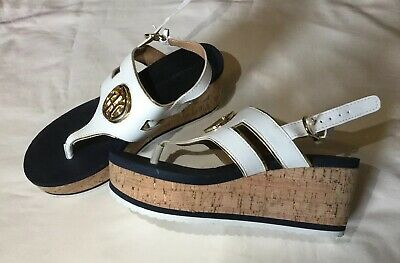 7d02c1d3495 New Tommy Hilfiger Sandals Shoes Gelia Natural Cork Wedge Size womens 9 New