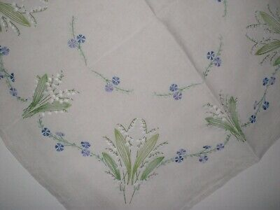 Vintage Embroidered Tablecloth ,lily Of The Valley
