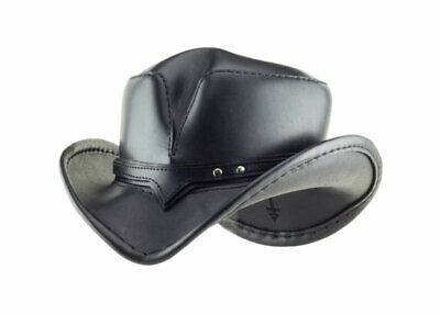 Black Leather Cowboy Hat - The Rambler by Subverse