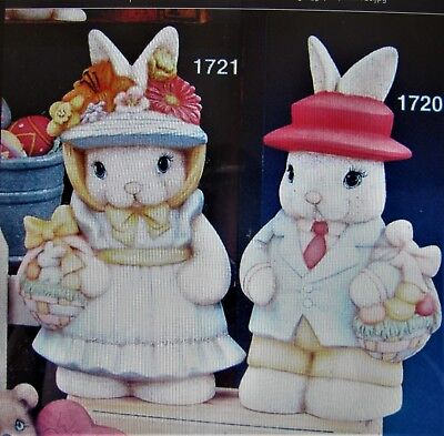 Pair Of Ceramic Bisque Hand-Painted Easter Bunny Boy & Easter Bunny Girl