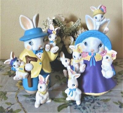 Pair Of Ceramic Bisque Hand-Painted Mama & Papa Bunny With Babies