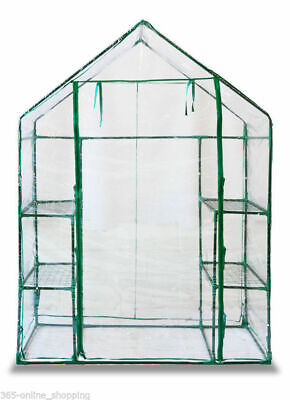 New Walk In Greenhouse With Double Shelves Pvc Plastic Cover Outdoor Garden Home
