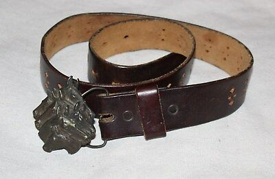 Vintage 1970s Leather Belt & Brass Horse Buckle Dark Brown With Cut Outs 30-31 W