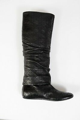 b2226ad1c NEW Christian Dior High Boots Shoes Black Leather Quilted Size 8 38 Women s