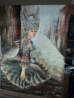 Vintage Asian Chinese/Japanese/India Seating Goddess Oil Painting hanging scroll