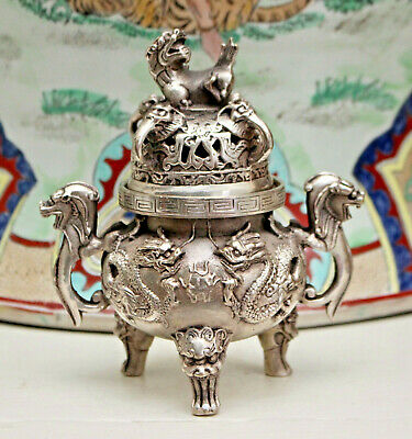 A Beautiful Antique White Metal (Believed Silver) Chinese Koro / Incense Burner
