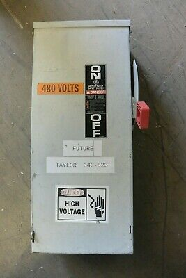 100 Amp Disconnect >> Th3363r Ge 100 Amp 600 Volt Fusible 3r Outdoor Disconnect Switch Used