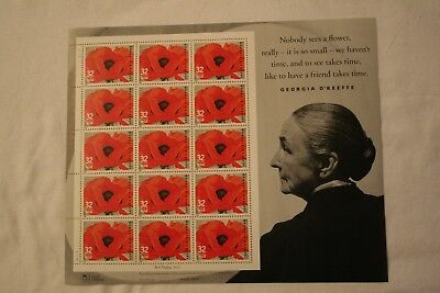 Scott 3069 Georgia O'Keeffe Red Poppy. Sheet of 15-32 cent US postage stamps.