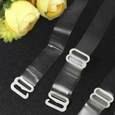 2 x Clear BRA Straps Transparent UK Invisible Adjustable Detachable Metal Hook