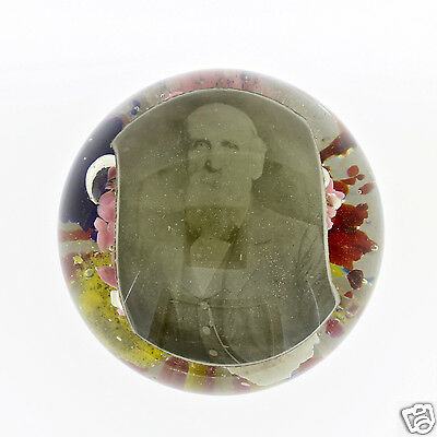 Antique Magnum Bohemian Glass Paperweight With Photo Inclusion- Doorstop - GL