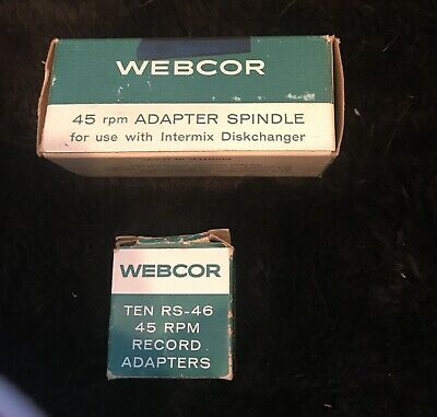 Webcor 45RPM Adapter Spindle Intermix Diskchanger A1922 & 10 record adapters NIB