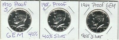 1964P, 1968S & 1970S Kennedy Half Dollar Proofs. Beautiful Silver Coins