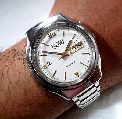 Ricoh Automatic Japan Made Day Date Classic White Dial Men's Collectors Watch
