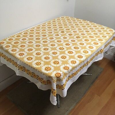 "VTG 1970s Terrycloth Sunflower Table Cloth 64"" X 52"" Tastemaker Floral Yellow"