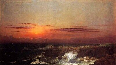 Oil painting Martin Johnson Heade - Sunset at Sea by beach on canvas 36""