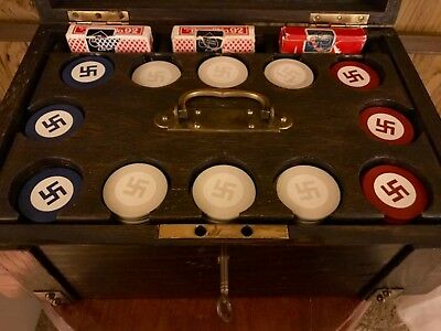 "Native American Four Winds ""Good Luck"" Swastika Poker Set 300 Chips C-1920's"