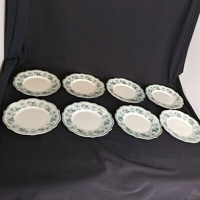 "W.H Grindley england 7"" salad/desert plates teal gold trim set of 8 D1"