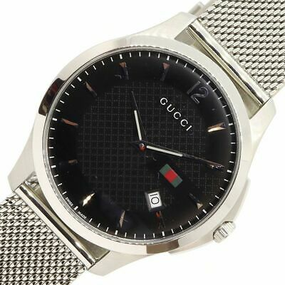 22c662a1f17 Gucci G-Timeless Quartz Stainless Steel Men s Watch slim Auth