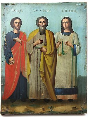 Icon Saints Guriy Samon and Aviv Orthodox Russian Empire Wood 295x225 mm