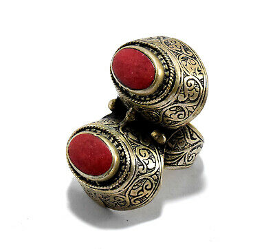 Red Turkmen Tribal Carved Band Ring Afghan Kuchi Jewelry Ethnic Gypsy Boho Long