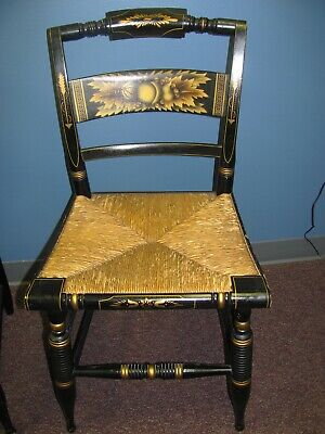 Two Black Hand Painted Hitchcock Chairs, Rush Seats, Nice Vintage Condition!
