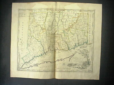 CONNECTICUT From the Beft AUTHORITIES Antique 18th Century HAND COLORED MAP