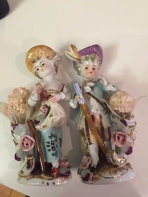 2 Ucagco Porcelain a young man and a girl in hats with bouquets of flower 6.5in