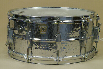 "Ludwig 6.5"" x 14"" Supraphonic Hammered Aluminum Snare Drum Used but New Skins"