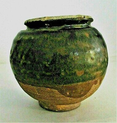 "Chinese Sung Tomb Burial Pottery Black Glaze Ware Pot c.10th - 13th C / 4""  x 4"""