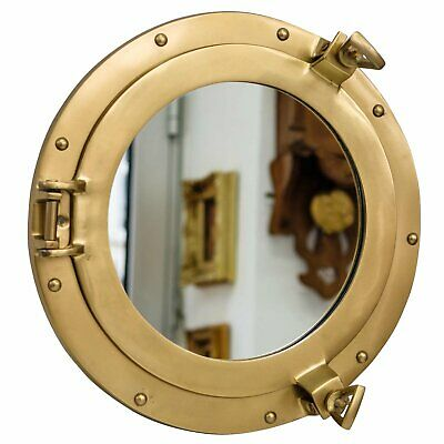 """Vintage Convex Fish Eye Style Convex Mirror in Brass Coloured Metal Frame 20"""""""