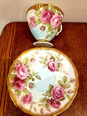 Adderley bone china Cup & Saucer Big Roses HEAVY GOLD