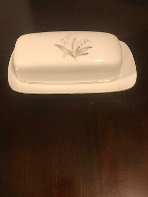 Kaysons Fine China Golden Rhapsody 1961 Japan Covered Butter Dish Vintage Glass